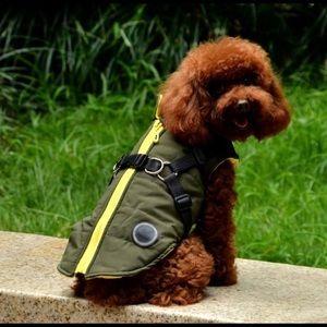 🐶 2/$25 NWOT Green and yellow fleece dog coat Size Large